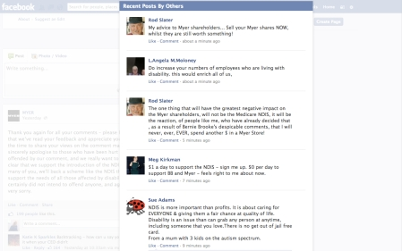 Screengrab of angry comments from NDIS supporters on the Myer Facebook page