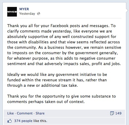 Screengrab: Myer posts a 'non-apology' apology on its Facebook page