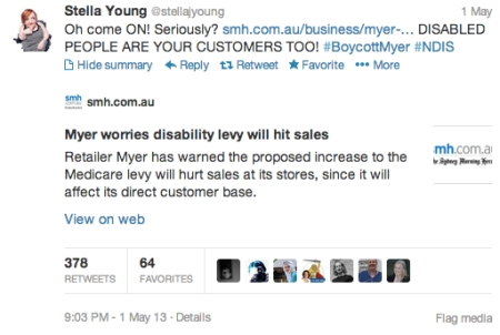 Screengrab: Disability advocate and journalist, Stella Young, tweets about the Myer NDIS scandal